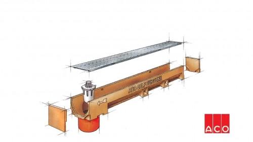 Установка лотка через канал с отводом и корзинкой для сбора муссора
