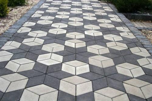 Ромбиковая тротуарная плитка в 2 цветах